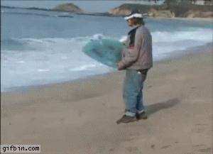 Niedoświadczony surfer