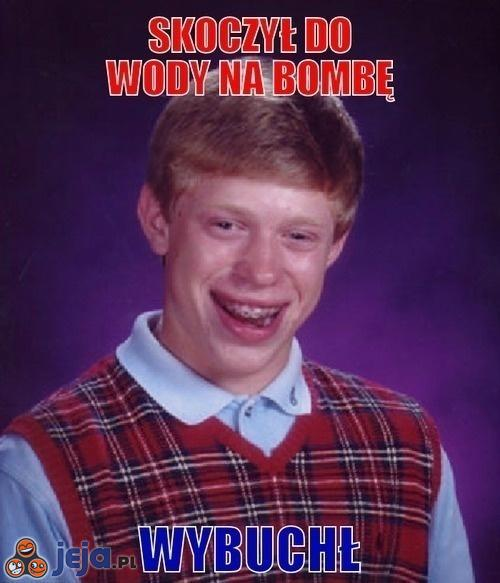 Skoczył do wody na bombę...