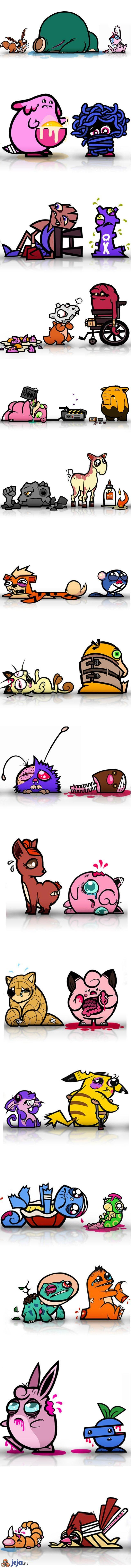 Pokemony po walkach