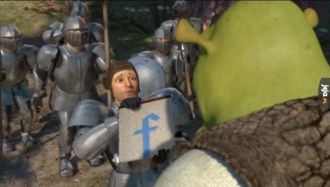 Tymczasem w Shreku (2001 rok), na 3 lata przed powstaniem Facebooka