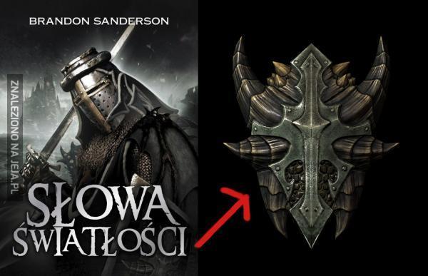 Tarcza ze Skyrim znaleziona na tarczy z książki Sandersona