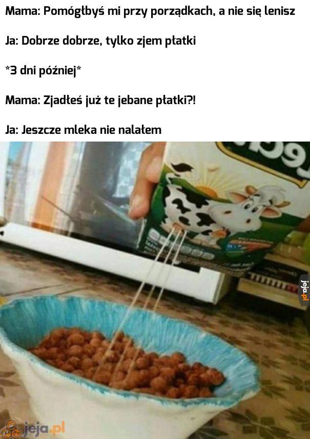 Najpierw płatki, potem mleko