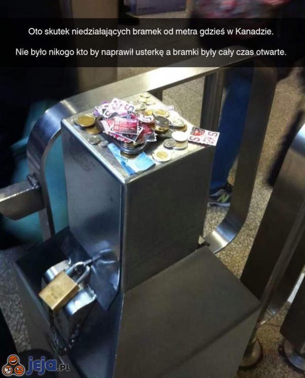 Gdy nie działają bramki w kanadyjskim metrze