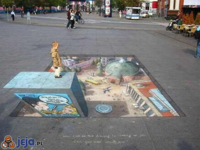 Iluzja na chodniku - miasteczko
