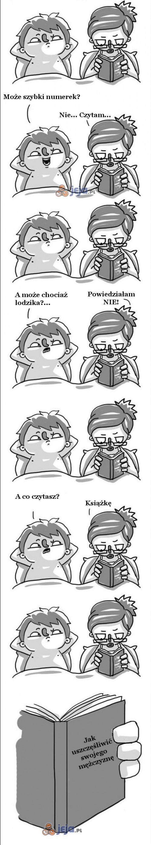 Gdy dziewczyna czyta w łóżku