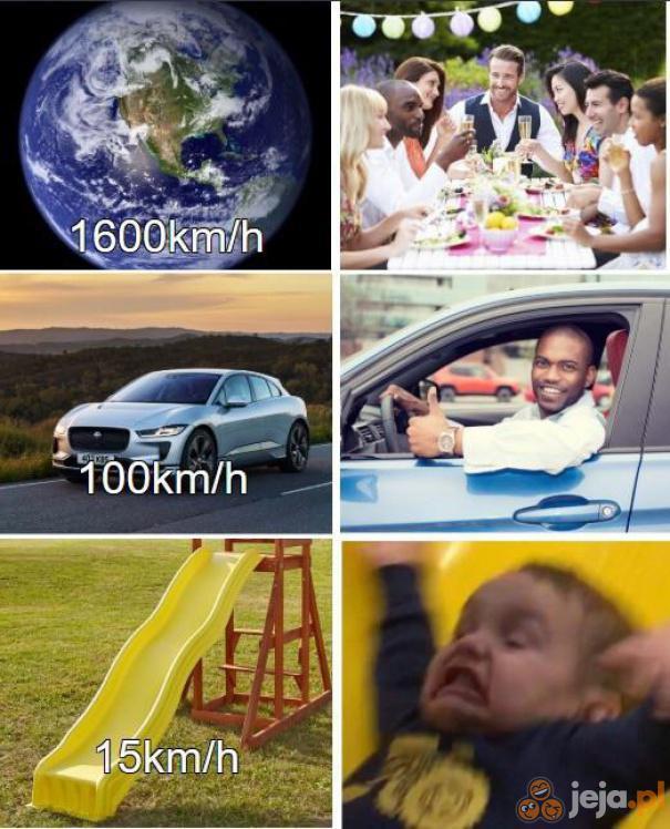 Jak widać, prędkość jest względna