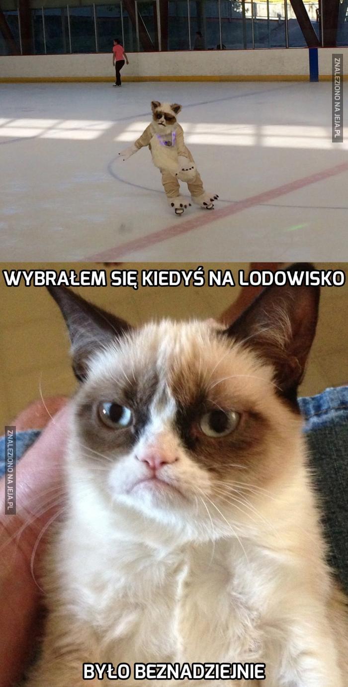 Grumpy Cat na łyżwach