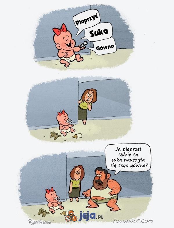 Ojciec uczy dziecko mówić