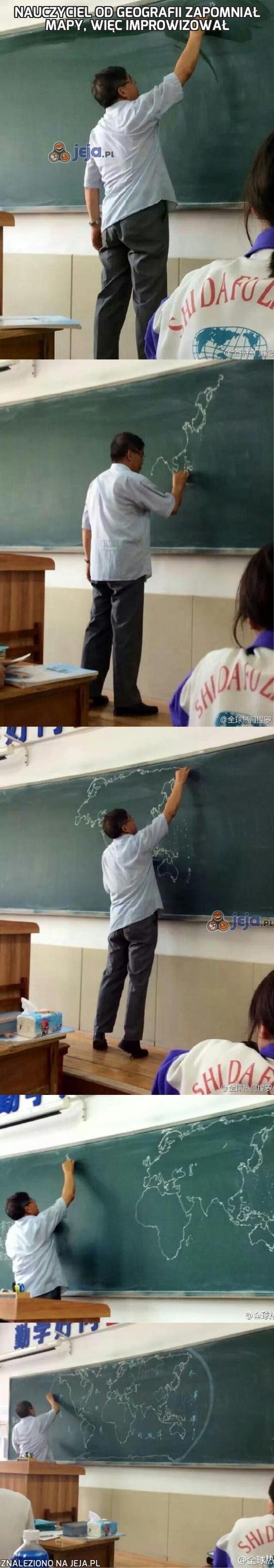 Nauczyciel od geografii zapomniał mapy, więc improwizował