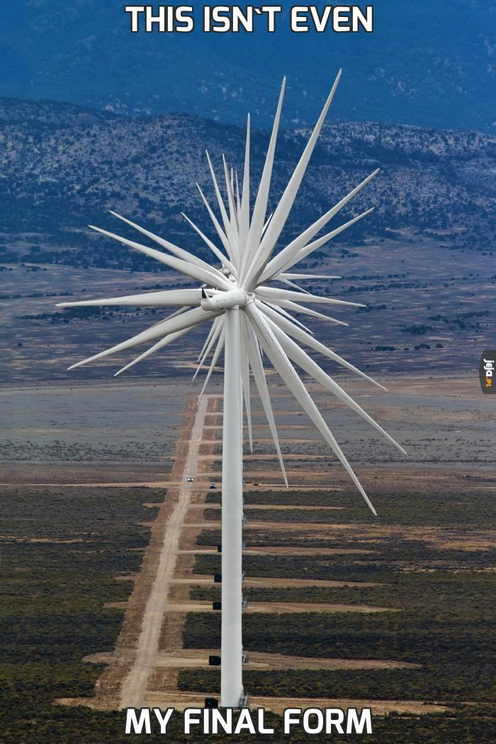 Czternaście turbin wiatrowych