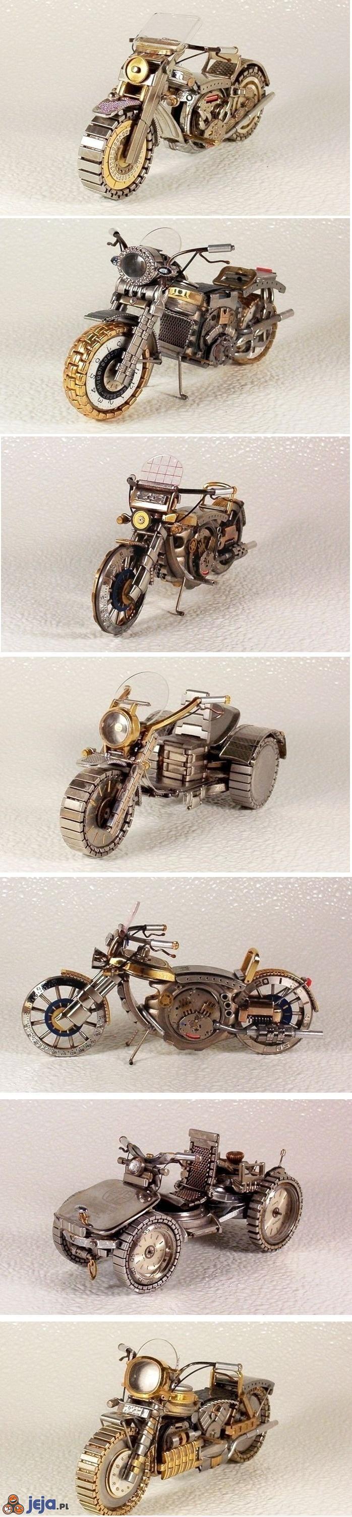 Miniaturowe motory zbudowane ze starych zegarków