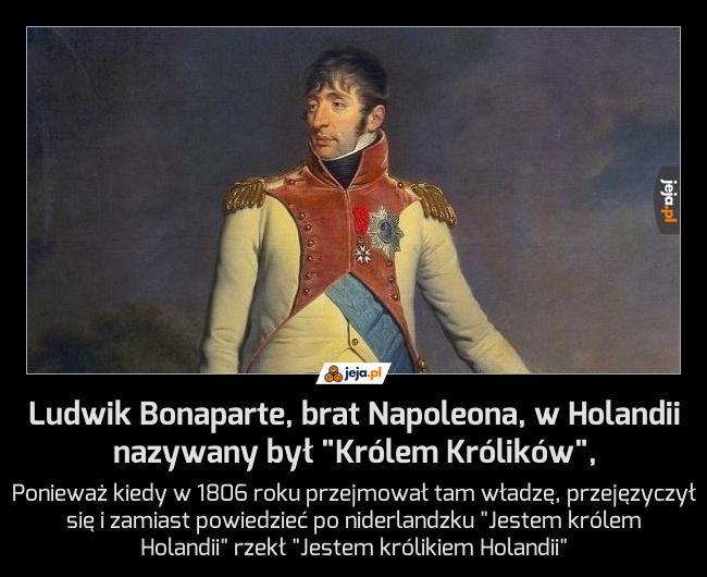 """Ludwik Bonaparte, brat Napoleona, w Holandii nazywany był """"Królem Królików"""","""