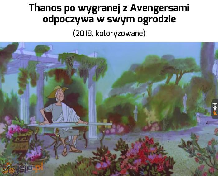Thanos po wygranej z Avengersami odpoczywa w swym ogrodzie