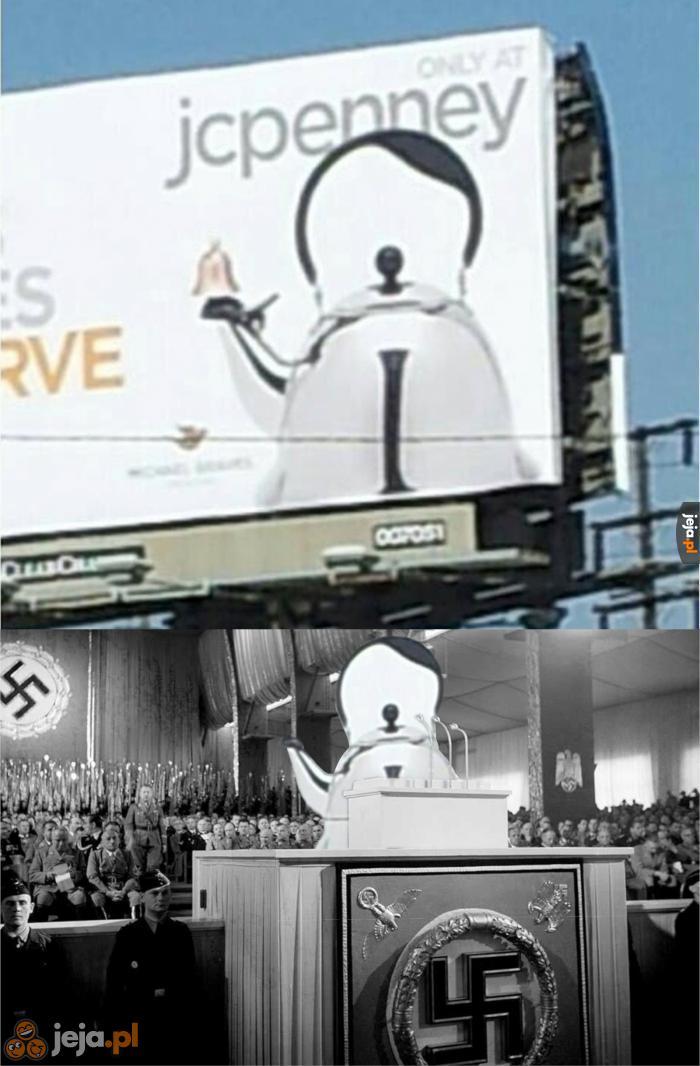 Obrazek nie ma na celu propagowania nazizmu lecz podkreślenie komizmu nieprzemyślanej reklamy.