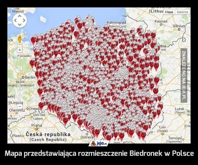 Mapa przedstawiająca rozmieszczenie Biedronek w Polsce