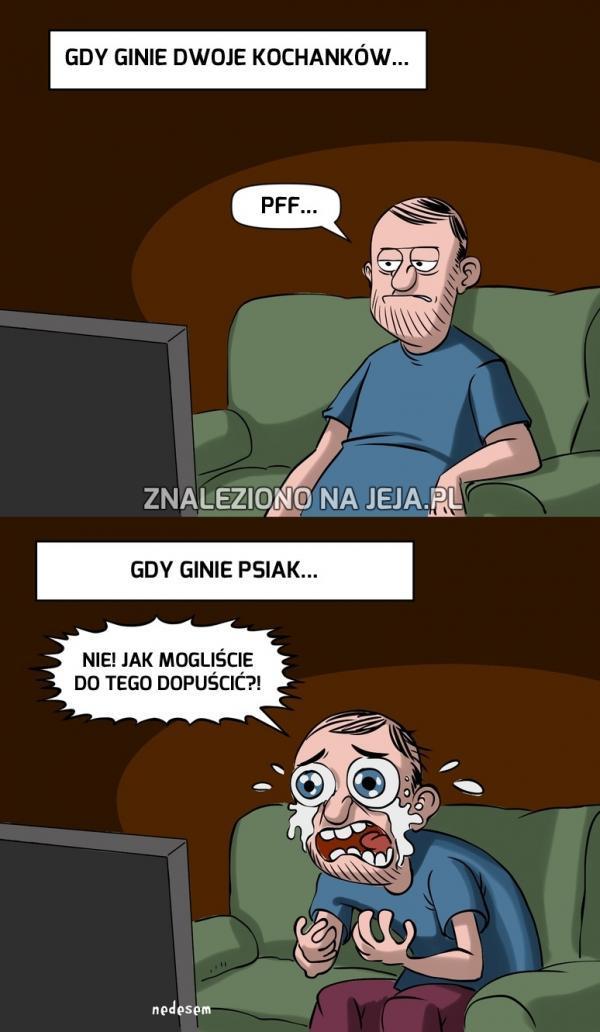 Faceci oglądający film...