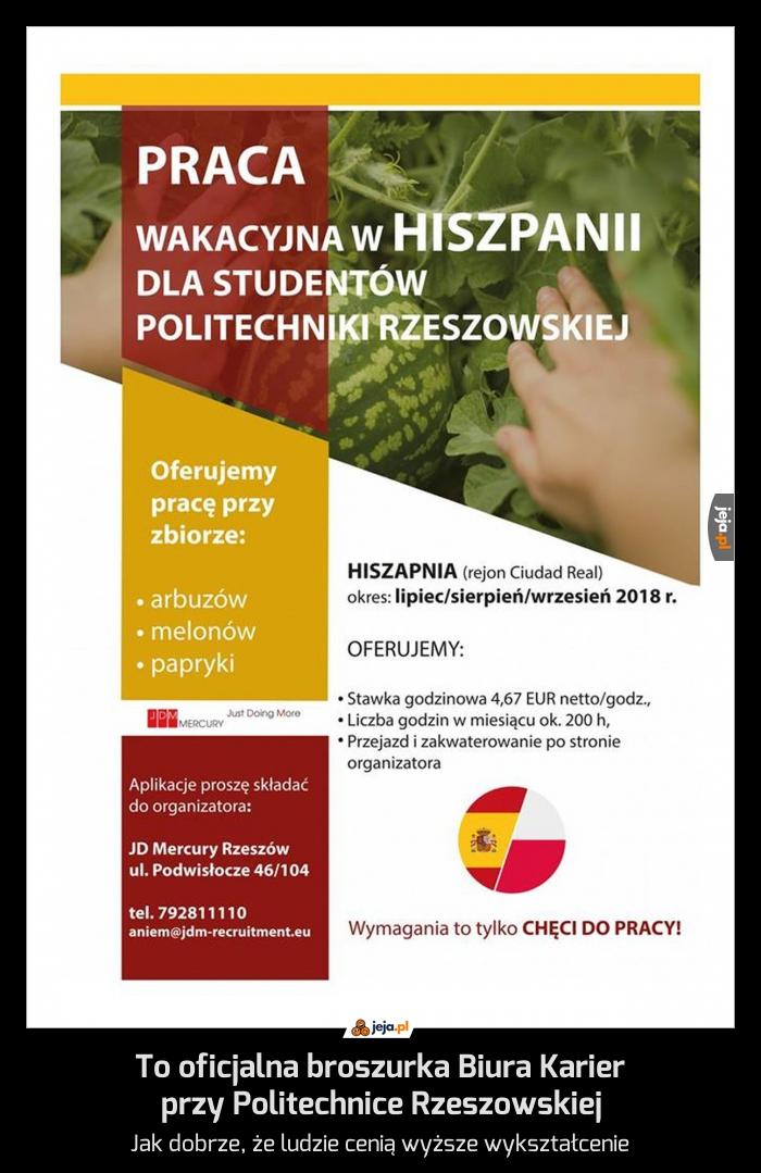 To oficjalna broszurka Biura Karier przy Politechnice Rzeszowskiej
