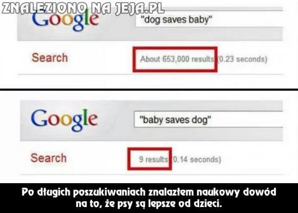 Psy lepsze od dzieci - jest dowód!