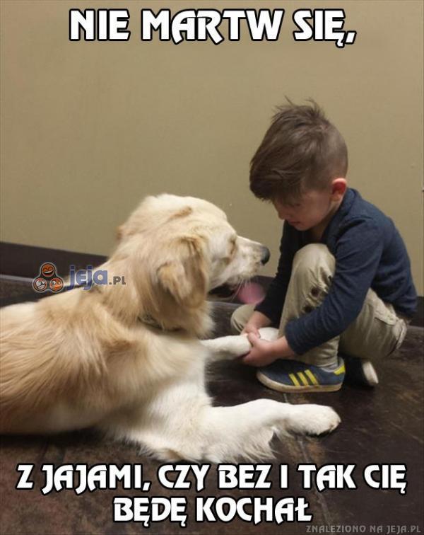 Mój syn pociesza psa, przed wizytą u weterynarza