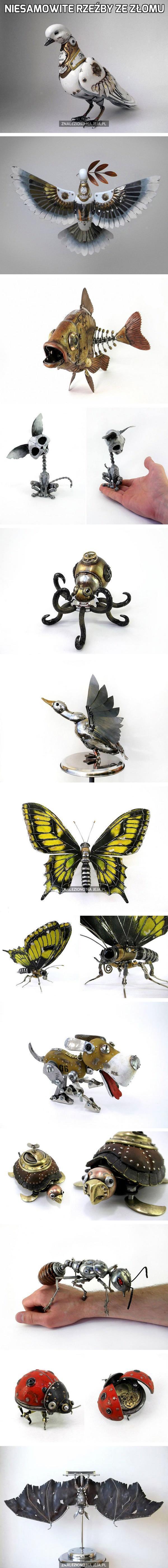 Niesamowite rzeźby ze złomu