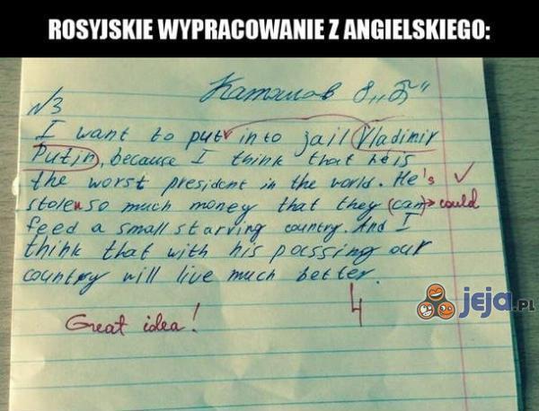 Rosyjskie wypracowanie z angielskiego
