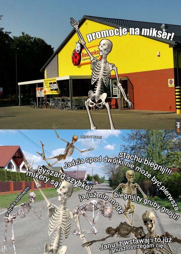 Szkielety spóźniły się, bo była kolejka w sklepie