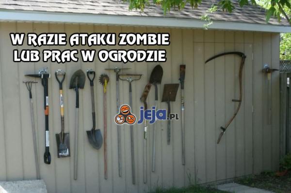 W razie ataku zombie lub prac w ogrodzie