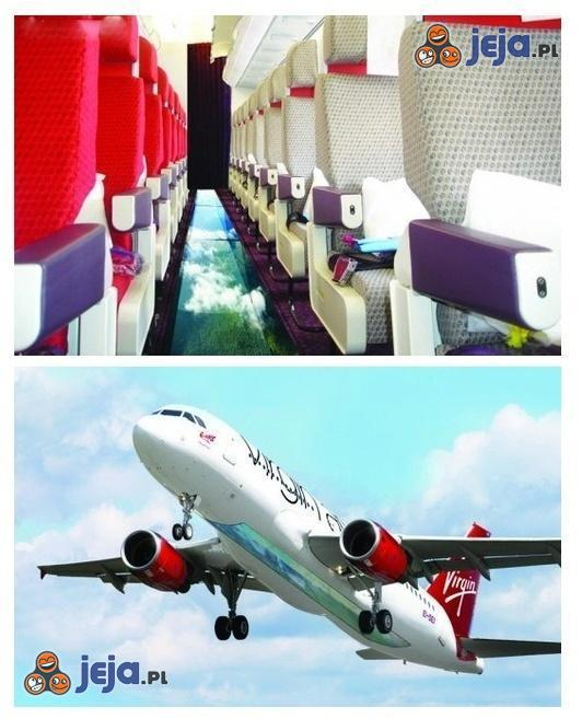 Samolot z przeszkloną podłogą, odważysz się spojrzeć w dół?