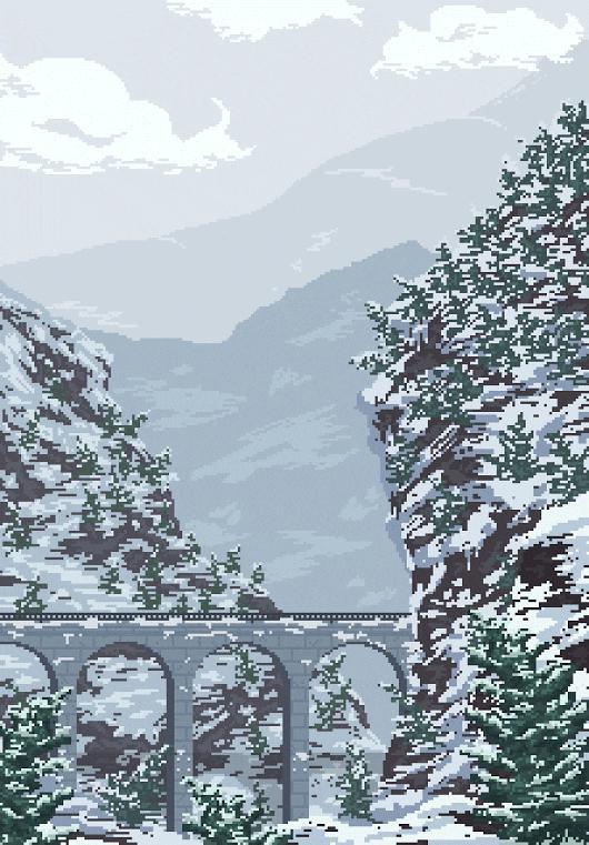 Piękny zimowy pixelart