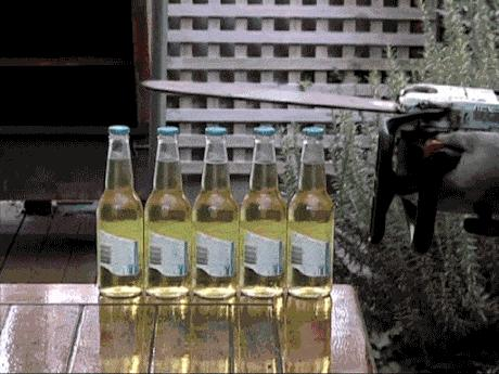Otwieranie piwa piłą łańcuchową