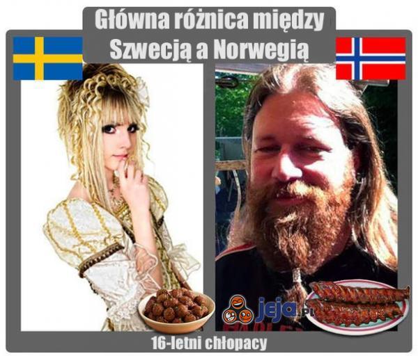Różnica między Szwecją a Norwegią