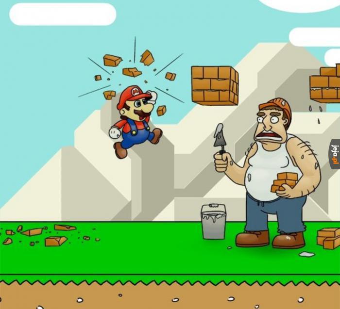 Mario niszczy ciężką pracę murarzy