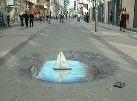 Iluzja na chodniku - łódka