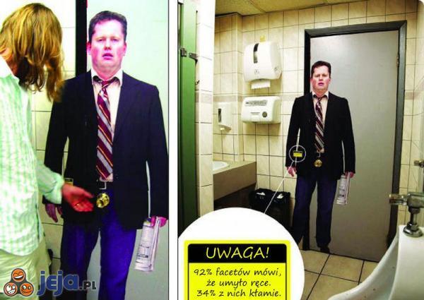 Ostrzeżenie na klamce w toalecie