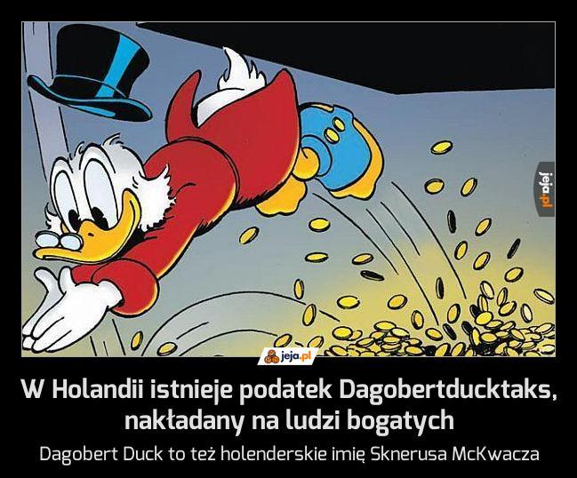 W Holandii istnieje podatek Dagobertducktaks, nakładany na ludzi bogatych
