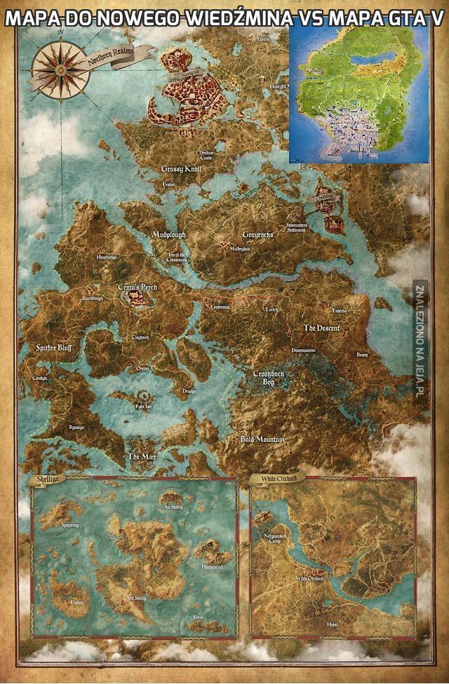 Mapa do nowego Wiedźmina vs mapa GTA V
