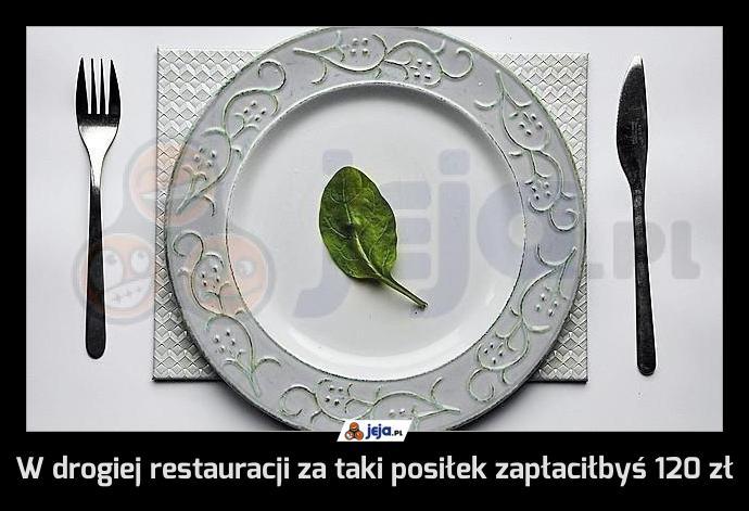 W drogiej restauracji za taki posiłek zapłaciłbyś 120 zł