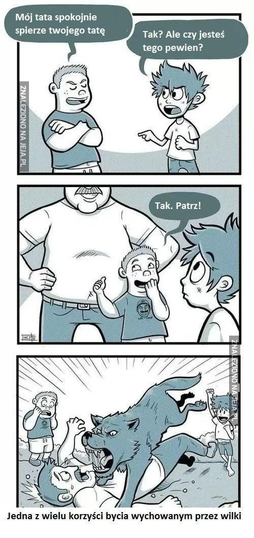 Mój tata spokojnie spierze twojego tatę