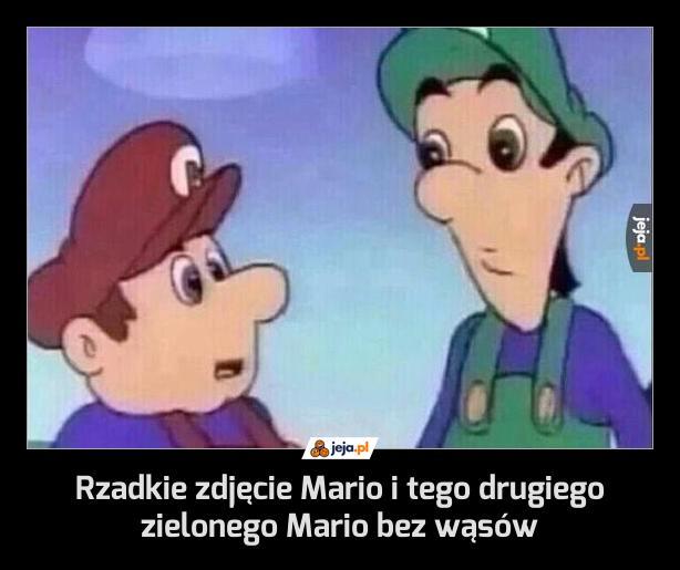 Rzadkie zdjęcie Mario i tego drugiego zielonego Mario bez wąsów