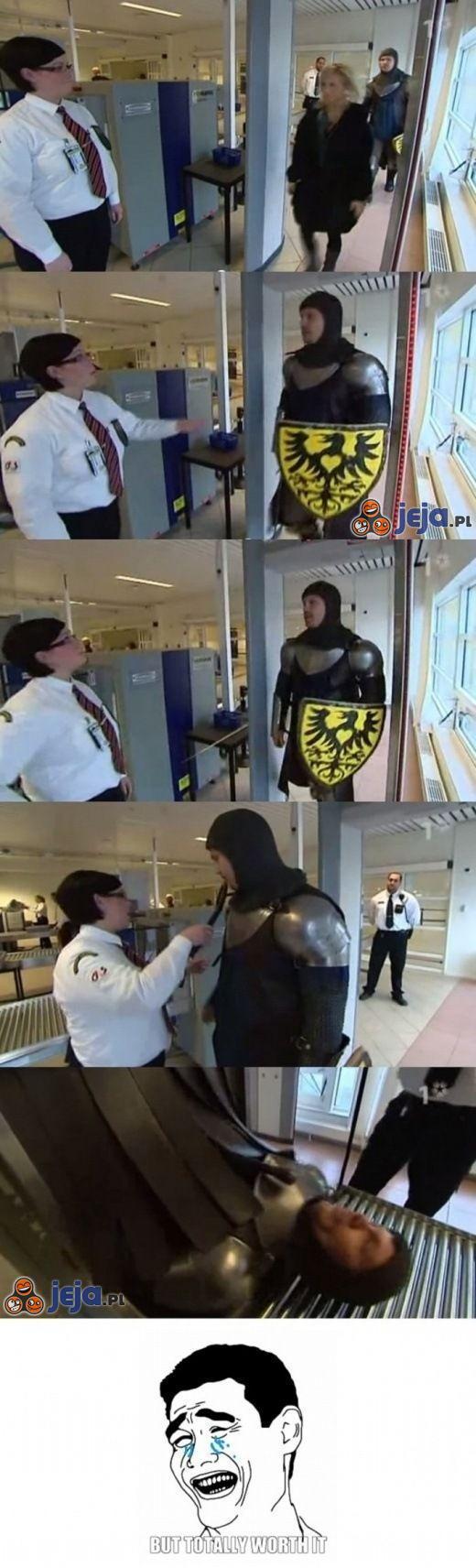 Rycerz trolluje na lotnisku