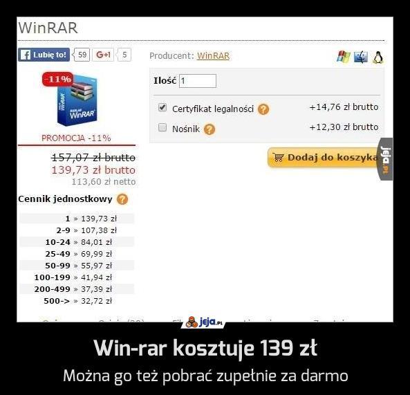 Win-rar kosztuje 139 zł