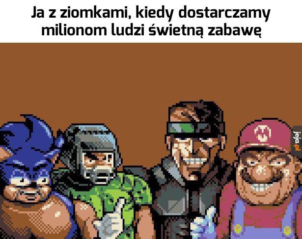 Sonic, Doom Slayer, Snake i Czerwony Luigi