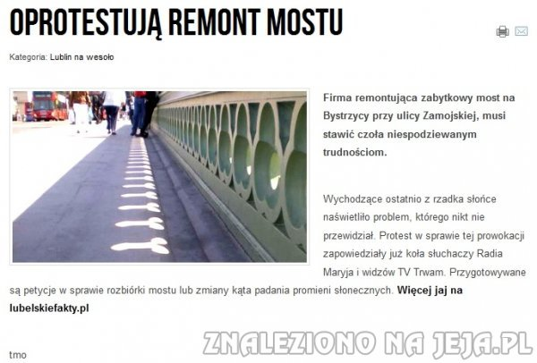 Oprotestują remont mostu
