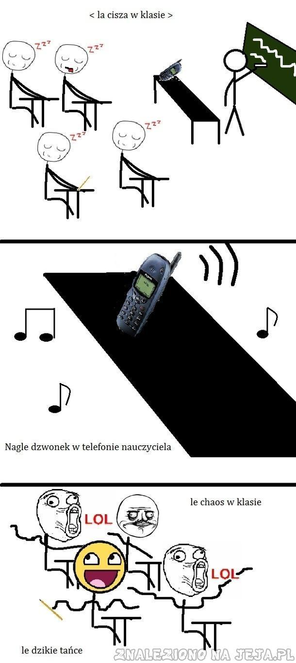 Telefon dzwoni na lekcji