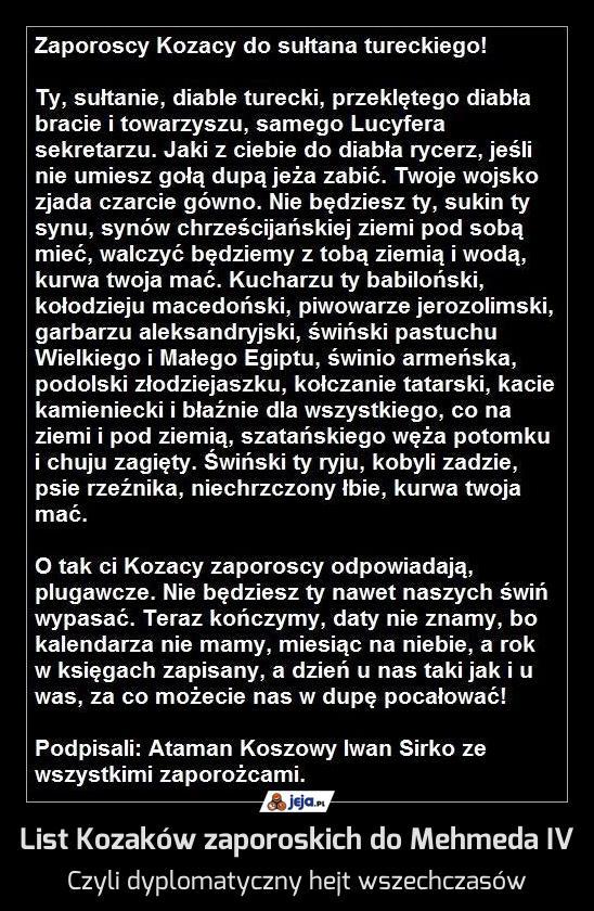 List Kozaków zaporoskich do Mehmeda IV