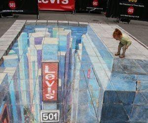 Iluzja na chodniku - miasto