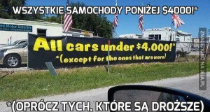 Wszystkie samochody poniżej $4000!*