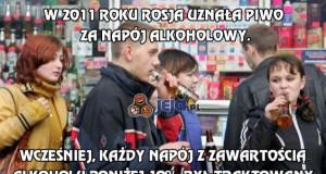 W 2011 roku Rosja uznała piwo za napój alkoholowy