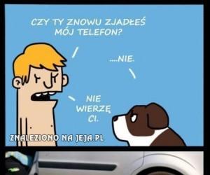 Psi zjadacz telefonów