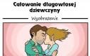 Całowanie długowłosej dziewczyny